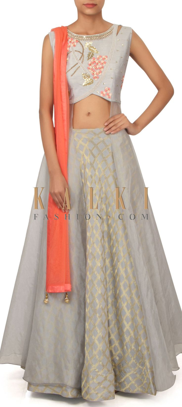 Grey lehenga with long embroidered jacket blouse only on Kalki