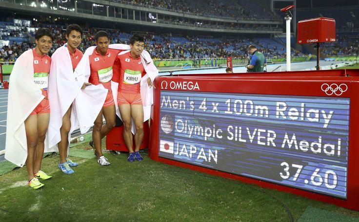 五輪=男子400mリレーで日本銀メダル、ジャマイカ3連覇 #陸上 #リオ五輪