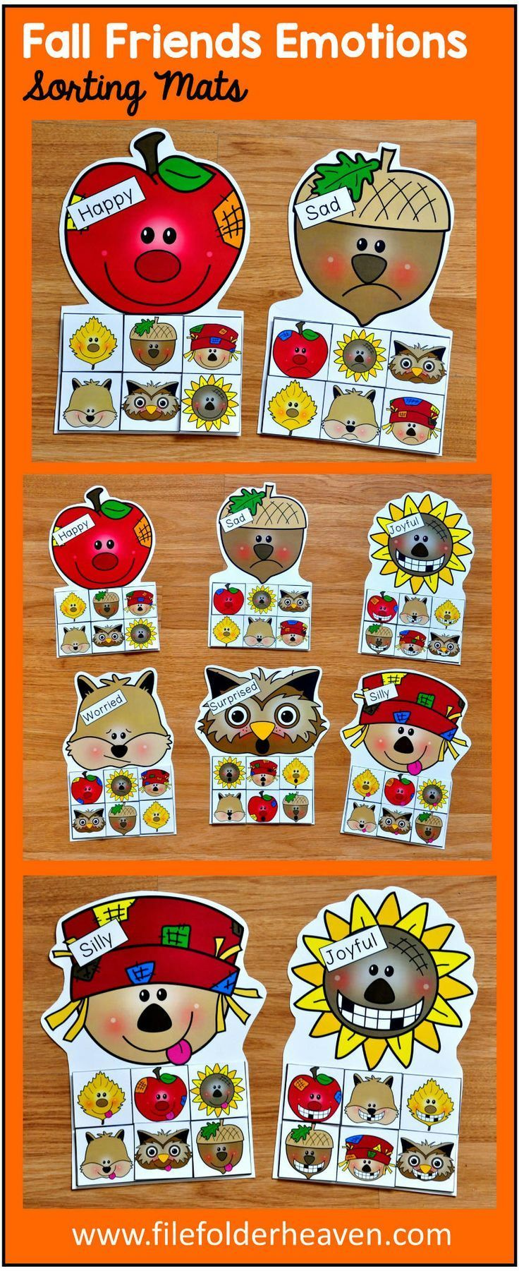 These Fall Friends Emotions Sorting Activities offer a fun and seasonal way for students to work on identifying emotions. This set includes 6 unique mats: an apple, an owl, an acorn, a squirrel, a sunflower and a scarecrow. At an independent workstation, center or language group, students complete the following sorting and classification activities.  Sorting Happy Sorting Sad Sorting Silly Sorting Joyful Sorting Worried