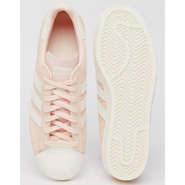 adidas Originals Blush Pink Superstar 80's Sneakers ($100) ❤ liked on Polyvore featuring shoes, sneakers, lacing sneakers, 80s sneakers, laced sneakers, adidas footwear and 80s shoes