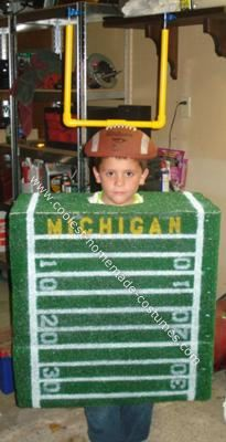 Homemade Football Halloween Costume: My son is a huge Michigan fan so I came up with this idea of a Homemade Football Halloween Costume and he loves it.   What you will need: 1 box (sized