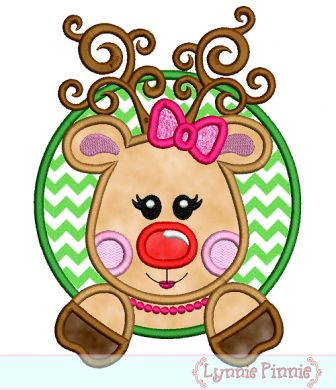 Embroidery Designs - Girly Reindeer in a Circle Frame Applique 4x4 5x7 6x10 - Welcome to Lynnie Pinnie.com! Instant download and free applique machine embroidery designs in PES, HUS, JEF, DST, EXP, VIP, XXX AND ART formats.