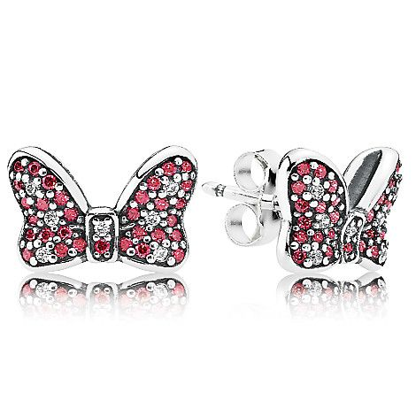 Minnie Mouse Sparkling Bow Earrings by PANDORA