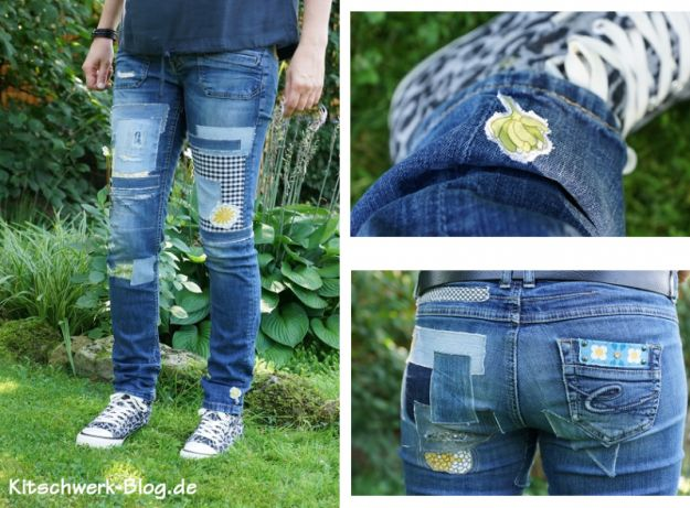 Jeanshose, upcycling, flicken, patch, Jeans, DIY, freie Anleitung, free Tutorial, nähen, sewing