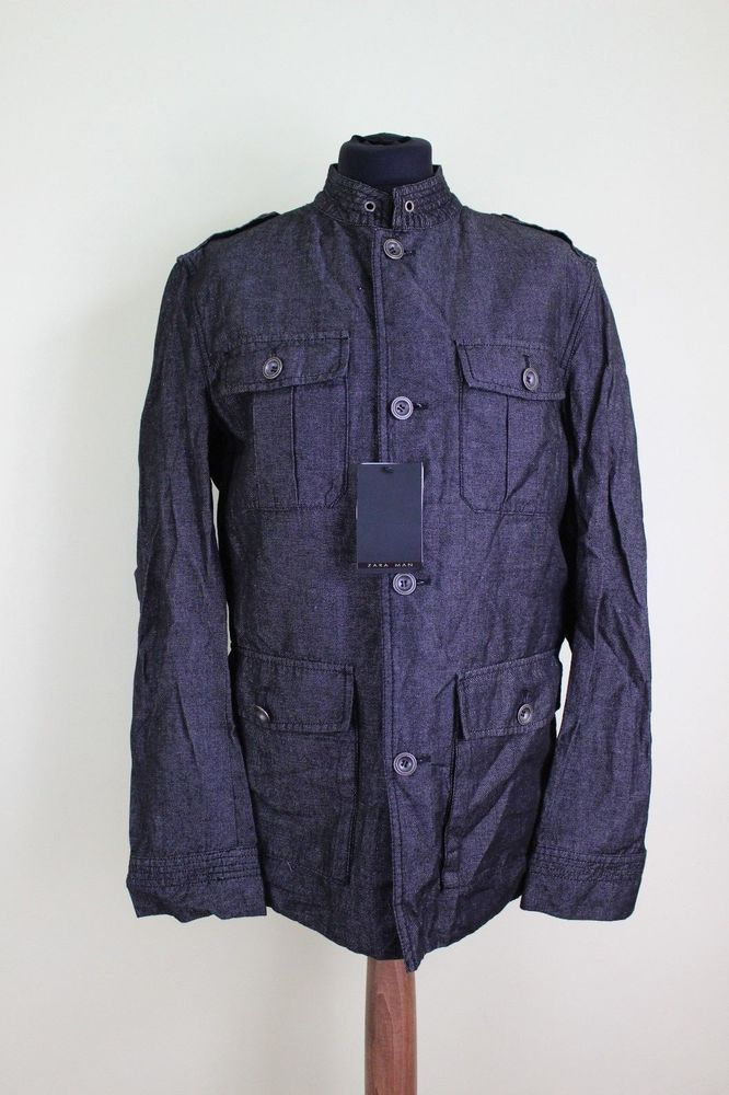 ZARA black gray grey denim linen man jacket coat size M UK 12 #Zara