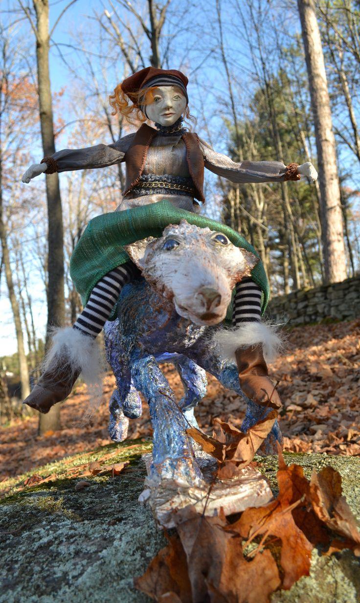Muskoka Woodland Sprite Art Doll Paperclay, papier mache, cloth,wool, acrylic paint