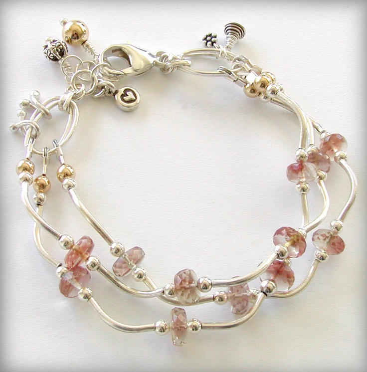RESERVED - Oregon Sunstone Bracelet Multi-strand with Silver and 14k Gold Filled Accents. $95.00, via Etsy.