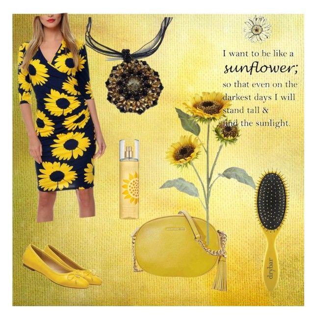 """Yellow Sunflower"" by creativeobsession ❤ liked on Polyvore featuring Michael Kors, Pier 1 Imports, Elizabeth Arden, Drybar, sunflower and yellowfashion"