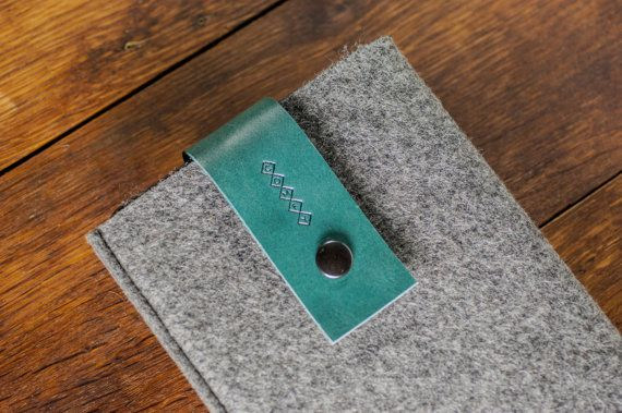 iPad mini cover / iPad mini Retina display Case : Grey Wool Felt Turquoise Italian Leather / Water Green Leather / Mint Leather iPad Cover