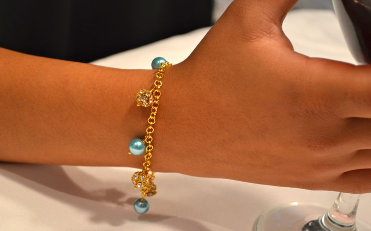 Gold Rhinestone and Turquoise Pearl Charm Bracelet on Gold Rolo Chain - From DizzleDesigns.ca