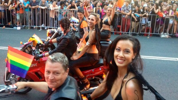 Rosie Lourde (front, right) road with Dykes on Bikes at last year's Mardi Gras parade.