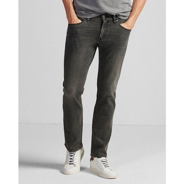 Express Slim Straight Gray 4 Way Stretch Jeans ($61) ❤ liked on Polyvore featuring men's fashion, men's clothing, men's jeans, grey, mens faded jeans, gray mens jeans, mens zipper jeans, mens grey slim fit jeans and express mens jeans