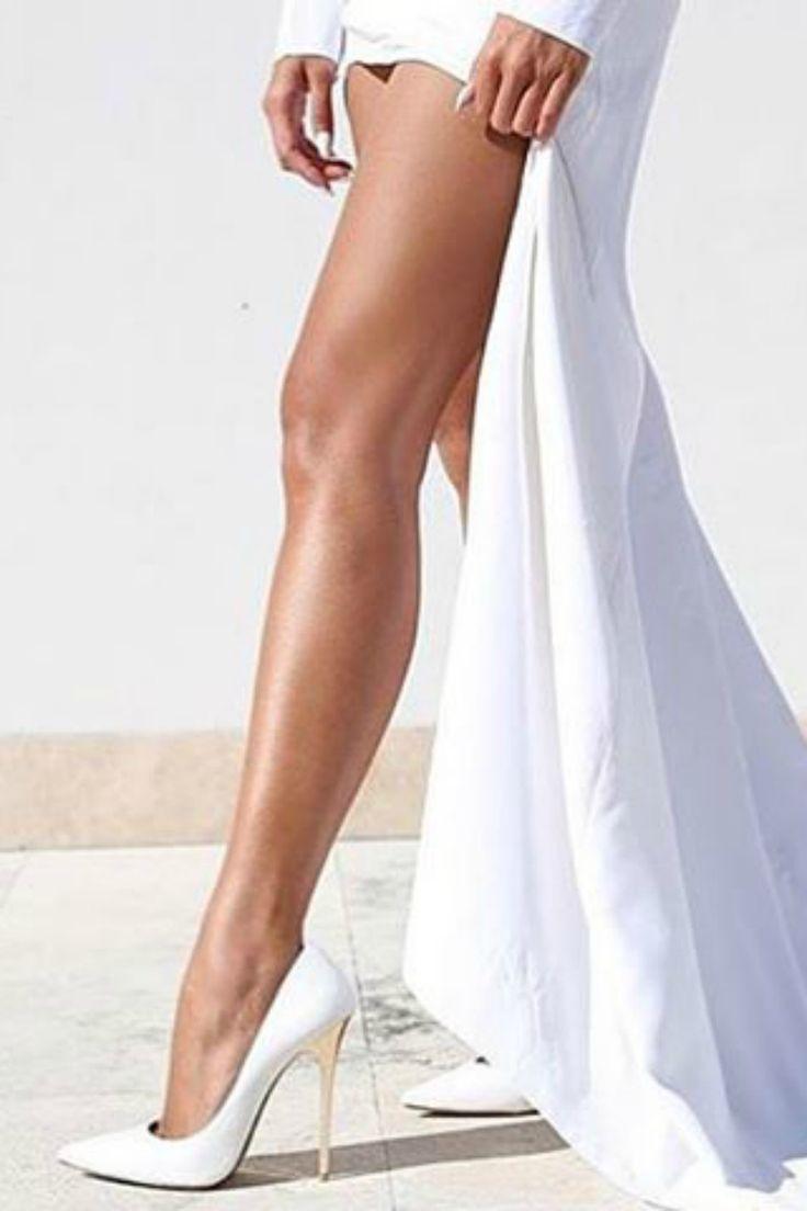 IZOA - Designer Shoes Khloe White Rose Gold Leather Heels