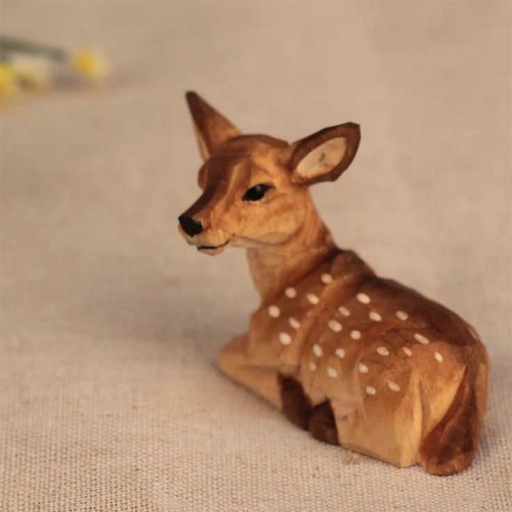 little wood sika deer/carved crafts/fairy garden/terrarium/ vintage home decor/Christmas birthday gift/delicate miniatures US $8.90