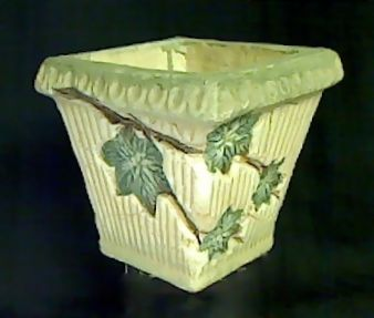 """Planter - sm. - with Leaves   -  5"""" tall x 5"""" square at top and 3 1/2"""" square at bottom Order # 420 .....$10"""
