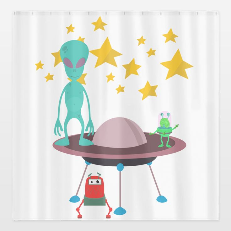 Shop for unique nursery art like the aliens Shower Curtain by haroulita on BoomBoomPrints today!  Customize colors, style and design to make the artwork in your baby's room their own!