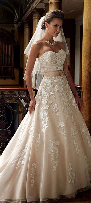 lovely low sweetheart neckline champagne ball gown wedding dress #wedding #weddingdress