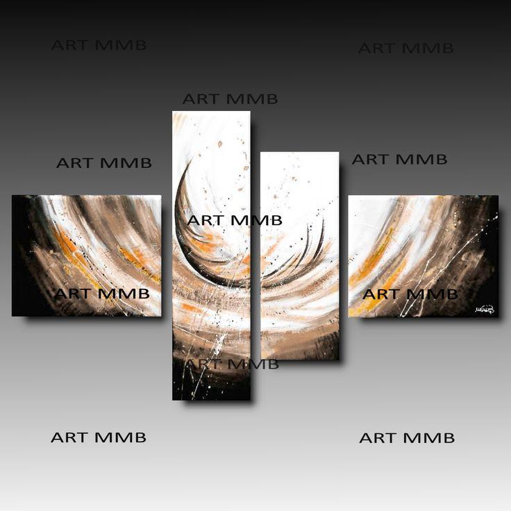 Produzione Quadri moderni astratti - 100% dipinti a mano. 4 Quadri Moderni Astratti Toni del rosso grigio bianco e nero