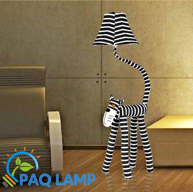 Vloerlamp doek lamp kid verlichting lange gezicht katten cartoon dier vormige kinderen brandt stof vloerlamp