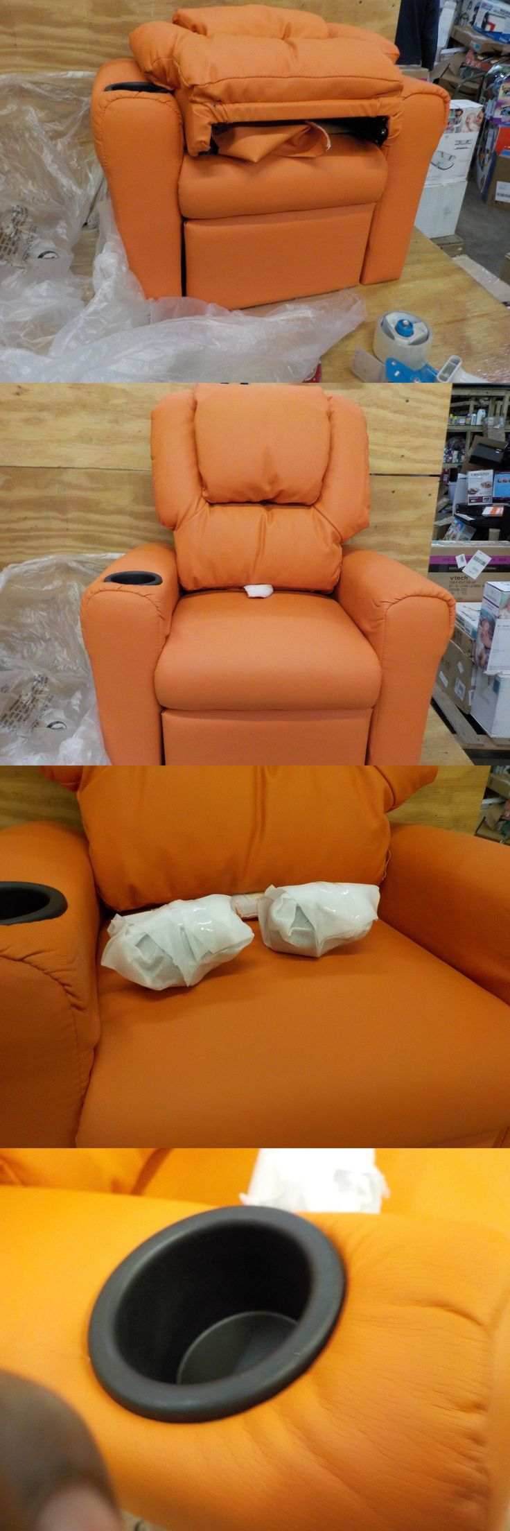 Sofas and Armchairs 134648: Flash Furniture Contemporary Orange Vinyl Kids Recliner With Cup Holder And Head -> BUY IT NOW ONLY: $89.99 on eBay!