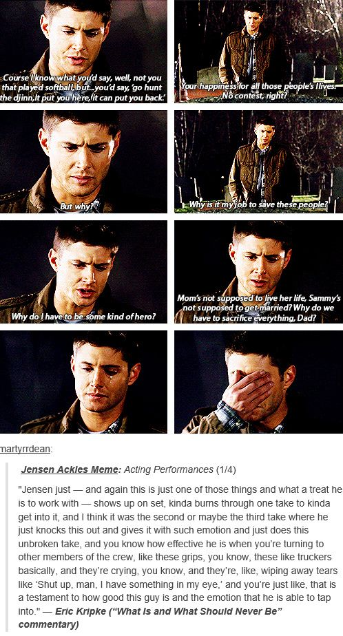 "[gifset] Eric Kripke (""What Is and What Should Never Be"" commentary) on Jensen's acting. THIS is why he is my favorite actor."