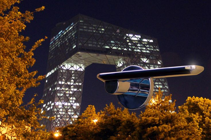 colombo design's slim by studio spalvieri / del ciotto poses in front of the CCTV tower in beijing