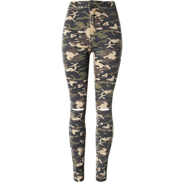 Camouflage Ripped Slim-Leg High-Rise Jean (£27) ❤ liked on Polyvore featuring jeans, pants, high waisted destroyed jeans, slim leg jeans, camo jeans, destroyed jeans and destructed jeans