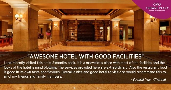 It's your love and appreciation that thrives us to perform better with each passing day. Thanks Yuvaraj Yuv for kind words. #Dakshin #CrownePlazaChennai #AdyarPark