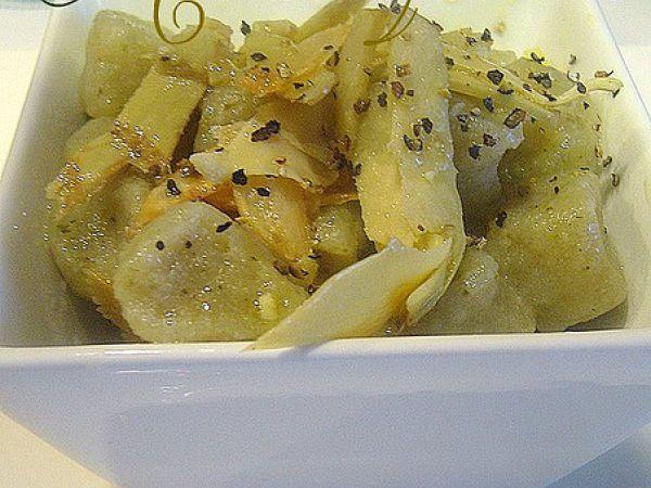 Gnocchetti di patate e broccoli con carciofi all'aglio bruciato