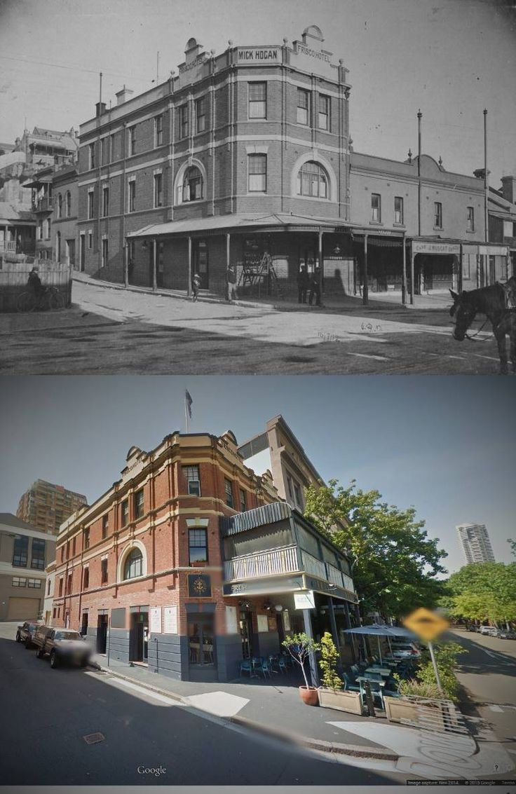 The Frisco Hotel, cnr of Dowling & Nesbitt Sts, Woolloomooloo 1912 > 2014 [City of Sydney Archives > Google Street View. By Kevin Sundgren]