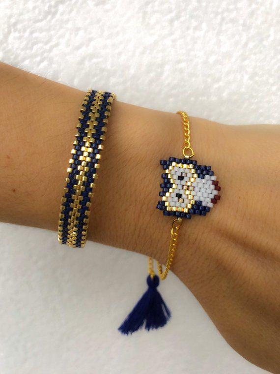 Miyuki beaded blue owl bracelet set unique stylish chic | Etsy