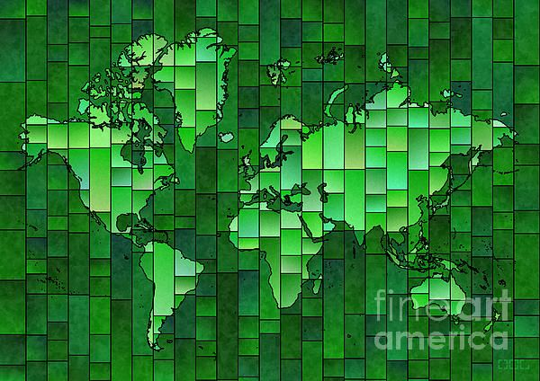 World Map Glasa Green by elevencorners. World map wall print decor. #elevencorners #mapglasa