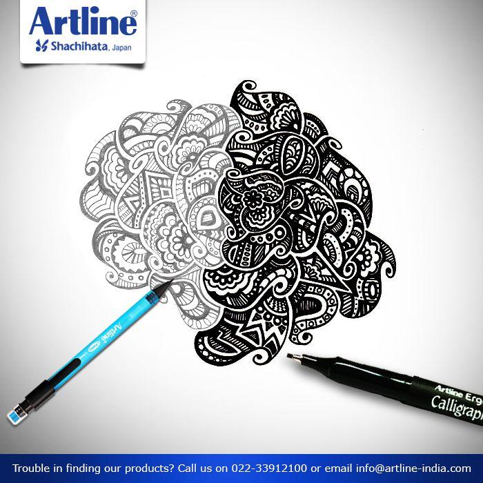 When #pencil meets #Calligraphy!  Take #Artline #Pencil and a Calligraphy #pen, make an #art #work. #Fun