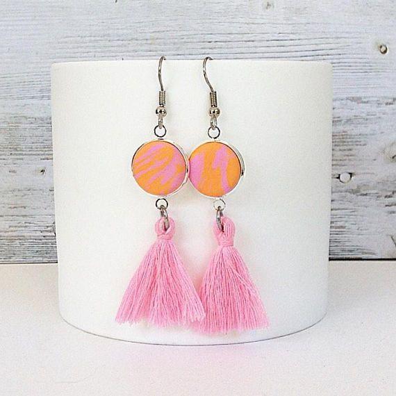 Tassel earrings pink and orange tassel earrings tassel drop