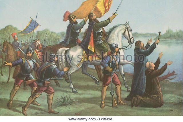 Hernando de Soto (1496/98 - May 21, 1542) was a Spanish explorer and conquistador. He explored and colonized Panama, Nicaragua, Honduras and Peru, where the expedition, led by Francisco Pizarro, conquered the Incan Empire. In 1536 de Soto returned to Spai - Stock Image
