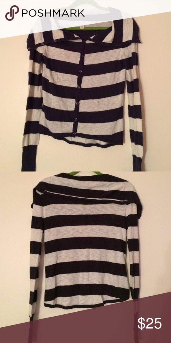 Nautical Cardigan Lightweight, mostly cotton, navy blue and white stripes with buttons all the way up to the top of the collar. Great for chilly summer evenings or boat trips or to wrap around your waste or shoulders to add some nautical flair. Great condition. Sweaters Cardigans