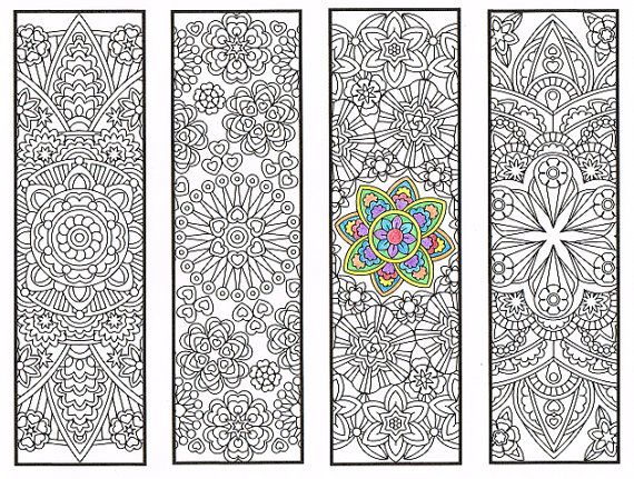 Coloring Bookmarks Advanced Flower Mandalas Page 2