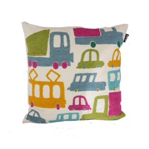 Brum Brum cushion cover by TIKAU / Colored hand-embroidered wool on beige cotton / Size: 50 x 50 cm (Designed by Ea Söderberg)