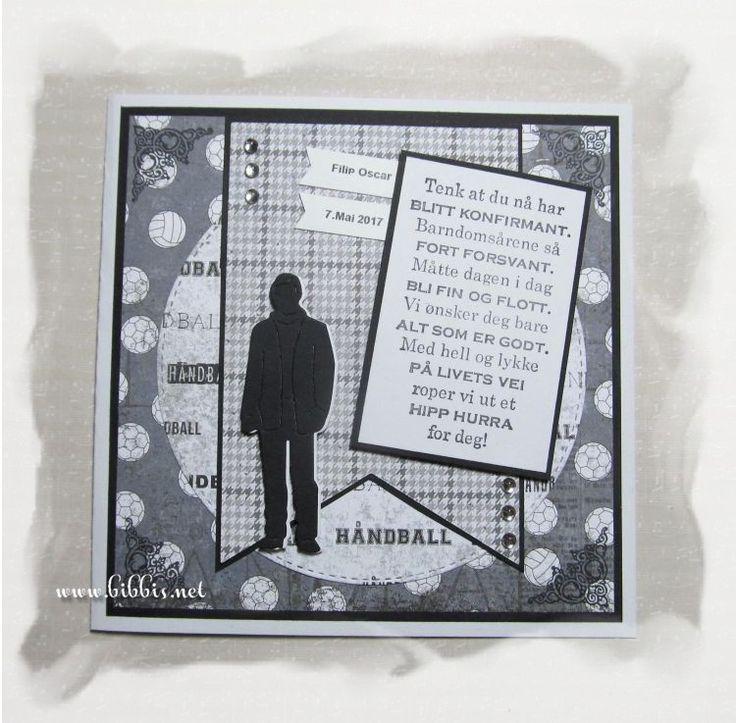 En bestilling på et konf.kort til en som spiller håndball. Da er Papirdesign-ark perfekte. Dies fra Frantic og Sizzix. Tekst fra Kreativ ...