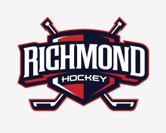 This logo has great contrast. The red, white and blue colors make it patriotic and catches the consumer's eye. The alignment helps it flow and the the hockey sticks show repetition.