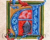 Alphabet Letter A, Medieval Painted Letter A, Painted Initial A, Medieval Alphabet Art Print, Medieval Letter A