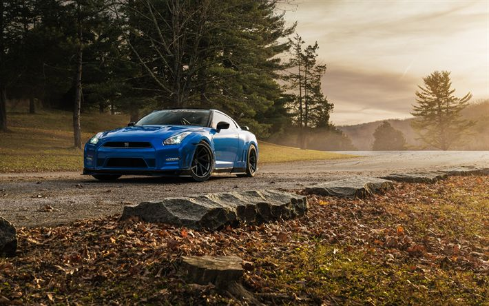 Download wallpapers Nissan GT-R, sports coupe, tuning, black wheels, Japanese sports cars, Blue GT-R, Nissan