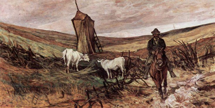 """""""Campagna romana"""", Giovanni Fattori, 1875-80; olio su tela, 87×173 cm; il dipinto è esposto presso il Museo civico Giovanni Fattori, Livorno."""