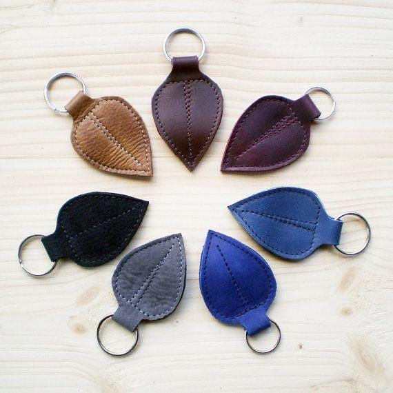 Handmade leather Key Fob, Key ring, various colours, FAIRY LEAF by Fairysteps