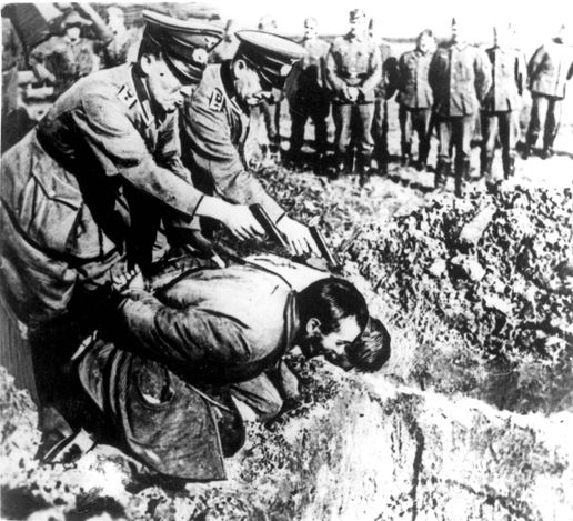 USSR, 1941, Operation Barbarossa - two local men being executed