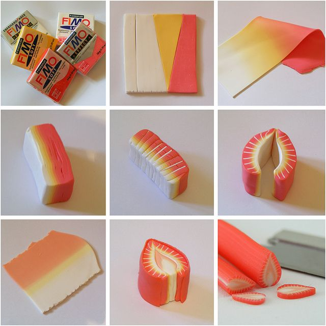 I own quit a few earring pairs featuring tiny food made by this artist. His work is AMAZING! Making A Strawberry Cane by Shay Aaron, via Flickr