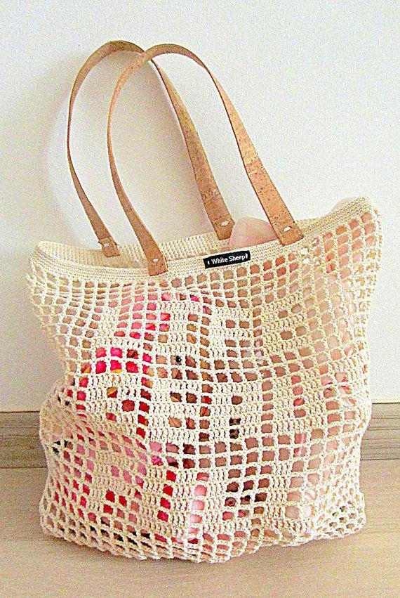 Handmade Beige CROCHET Bag-Tote with CORK SKIN by WhiteSheepShop