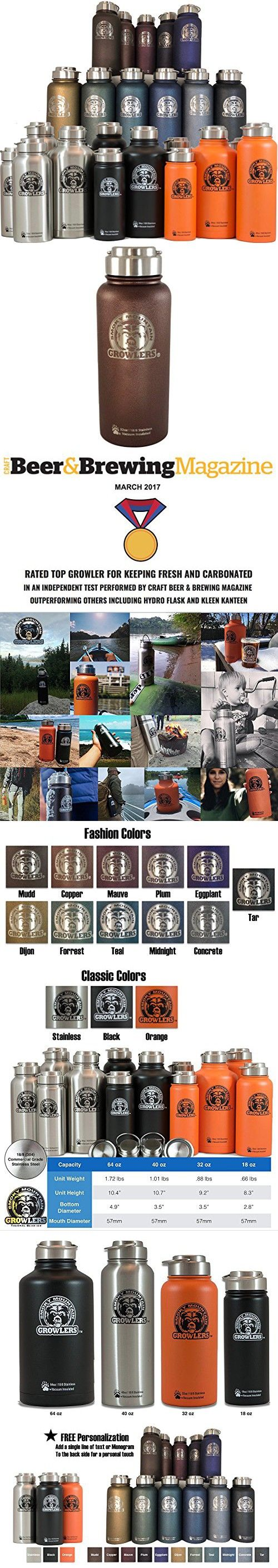 Smoky Mountain Growlers Insulated Stainless Steel All-in-one 32 oz Water Bottle, Thermos, and Wine or Beer Growler with Stainless Steel Lid (Copper)