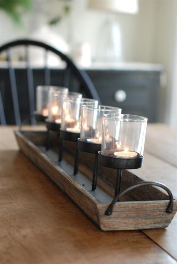 Kitchen Table Centerpiece Ideas For Everyday Using Glass Pillar Candle Holders Over A Unfinished