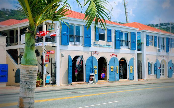 Download wallpapers Charlotte Amalie, streets, Virgin Islands, USA, tourism, travels